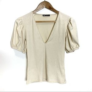 Zara Bubble Sleeve V Neck Ribbed Fitted Blouse